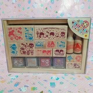 Rare! Sanrio Characters Wooden Box Stamps Set