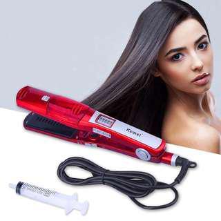 🚚 Kemei Professional Steam Hair Straightener Comb Brush Flat Iron Ceramic Hair Iron Electric Hair Straightening Brush Styling Tool
