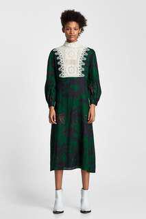 ZARA green linen dress