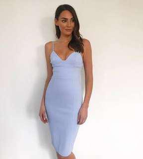 Kookai pastel baby blue bodycon dress size small 34