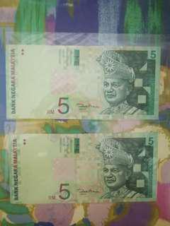 MALAYSIA RM5 11th Series x 2pcs