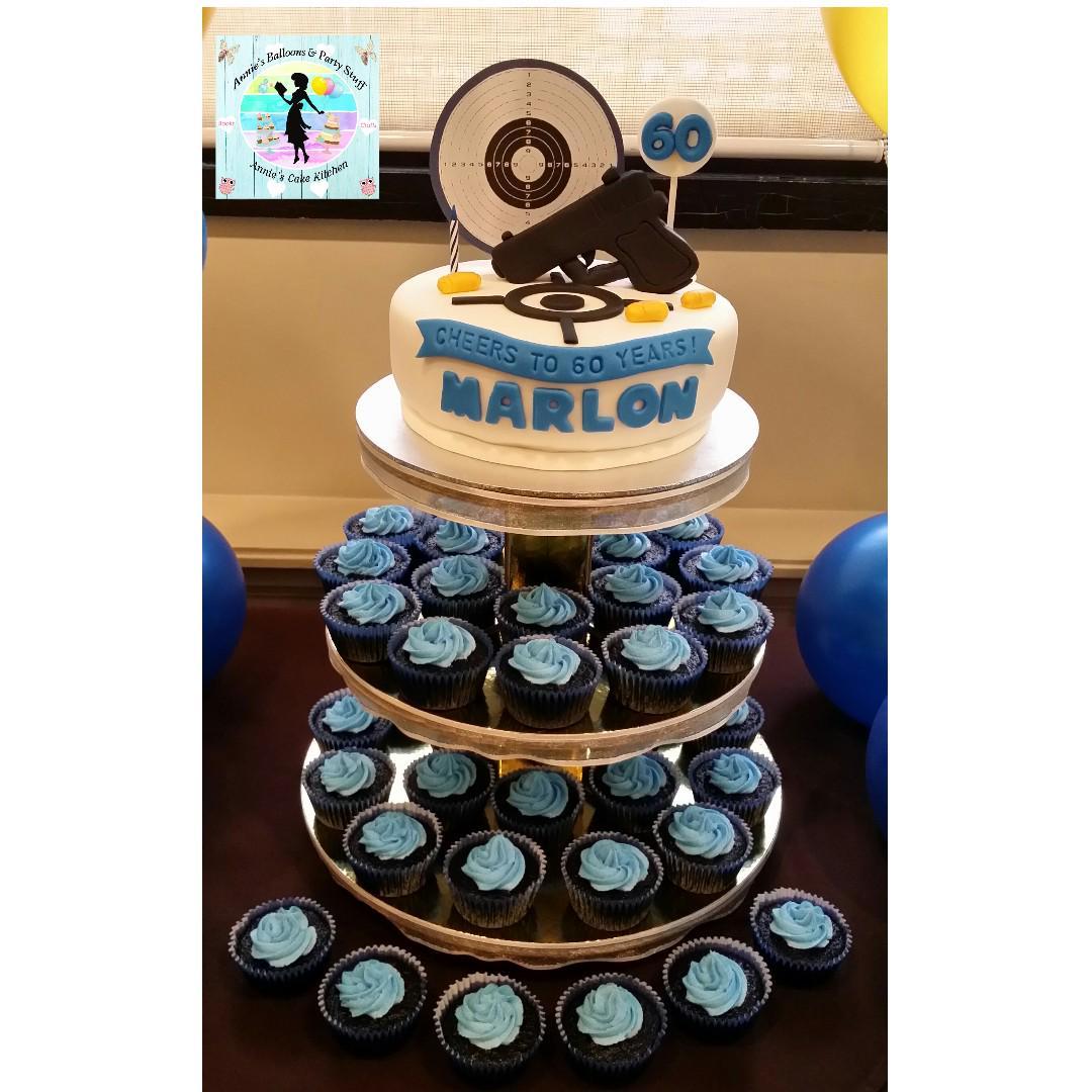 60th Birthday Cake Cupcake Tower Target Shooting Theme Hobby Sport On Carousell
