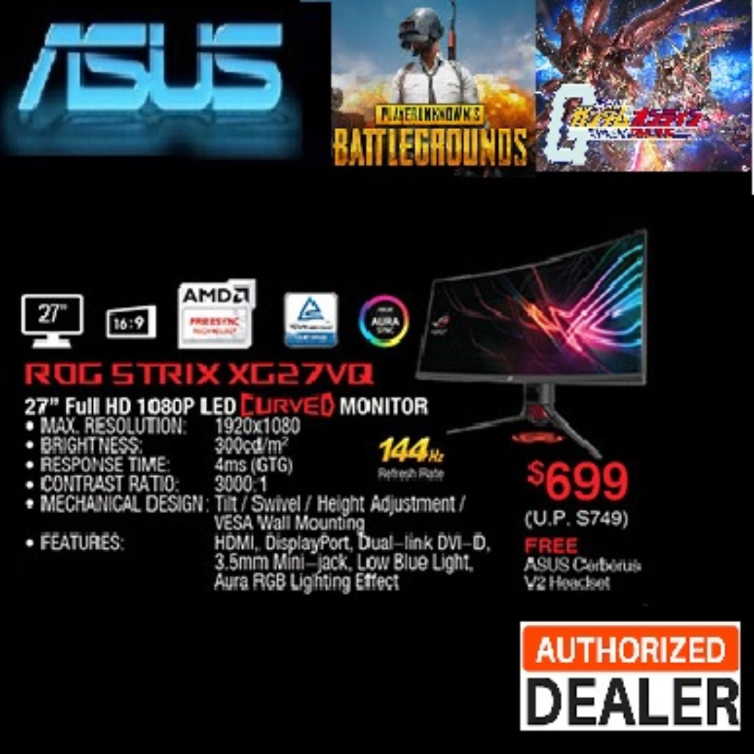 ASUS ROG Strix XG27VQ Curved Gaming Monitor – 27 inch Full HD (1920x1080),  144Hz, Extreme Low Motion Blur, Adaptive-Sync(FreeSync™)  ,( Sales
