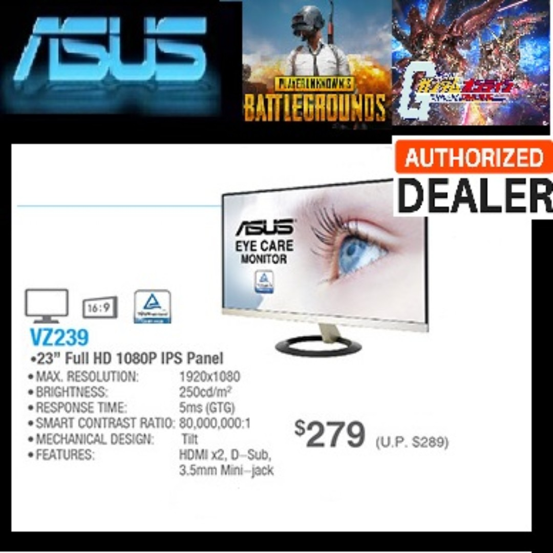 ASUS VZ239H Eye Care Monitor - 23 inch, Full HD, IPS, Ultra-slim,  Frameless, Flicker Free, Blue Light Filter, ( Sales Offer Till   14 Sep  2018) While