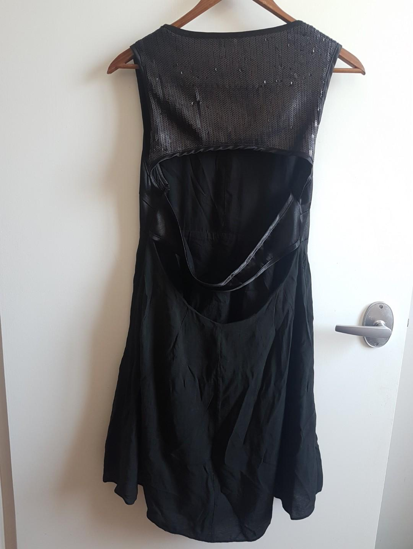 AUGUST Black Satin Dress w/ Sequin Back Detail, Size 12
