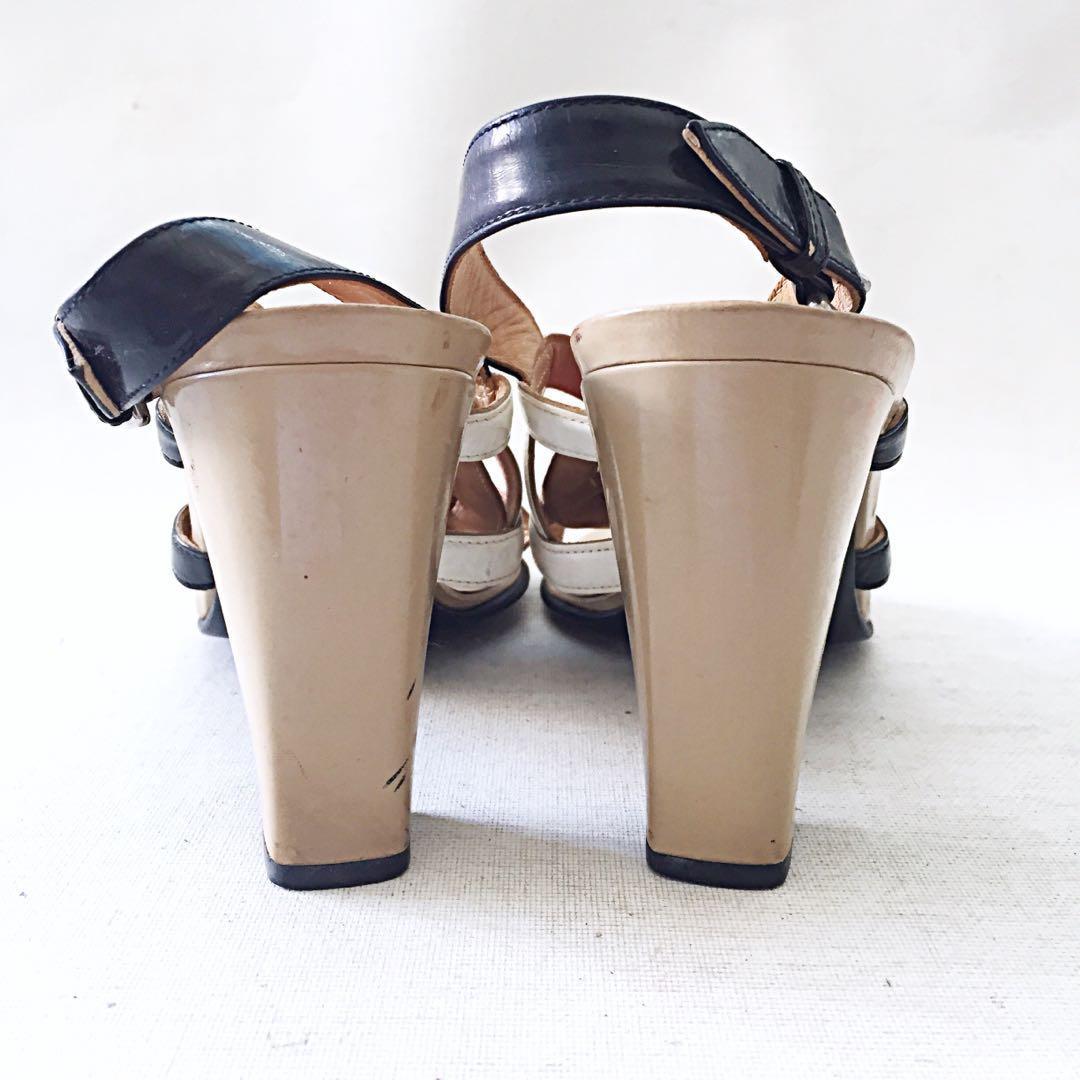6c857d2b70bc Auth Vintage HERMES Multicolor Tan Black Red Patent Leather Strappy Sandals  EU38
