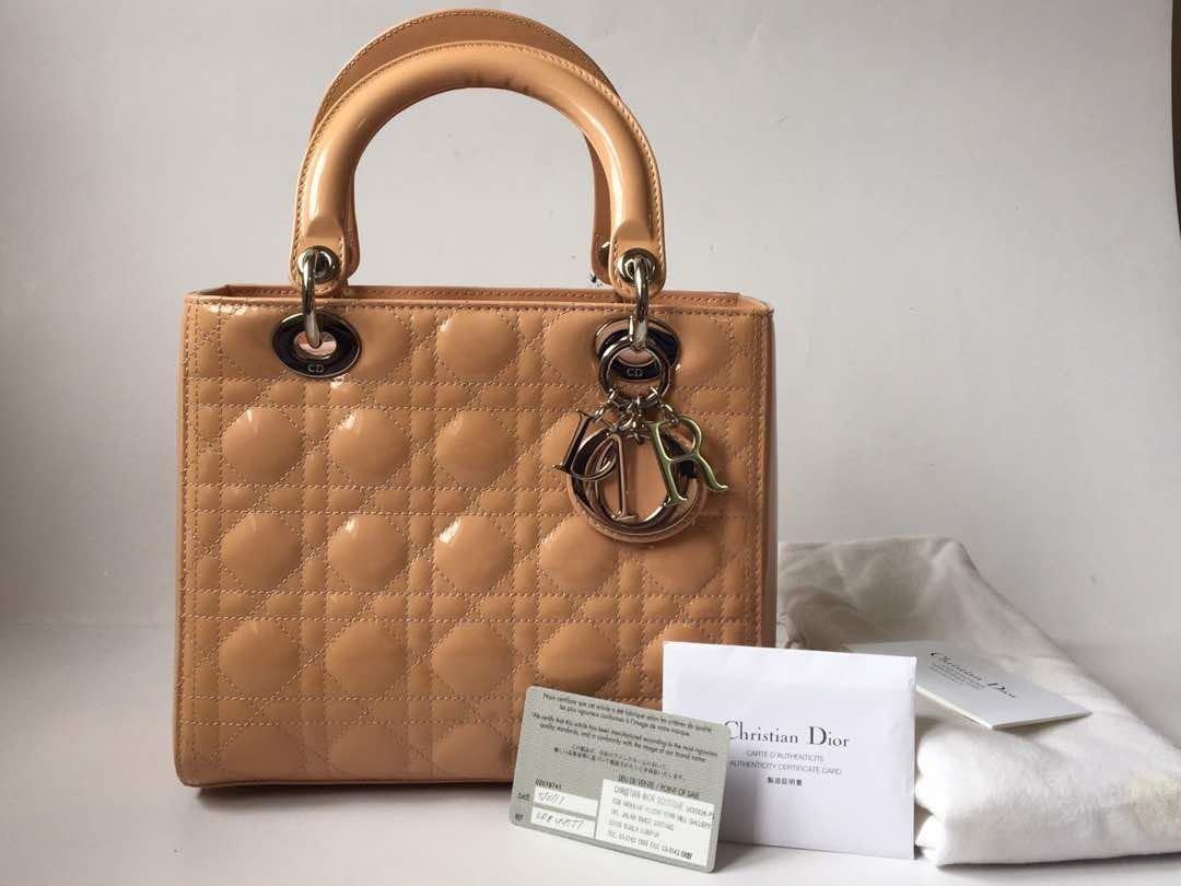c25b74d77c89 Authentic Christian Dior Lady Dior Light Pink Cannage Patent Leather Medium  Handbag