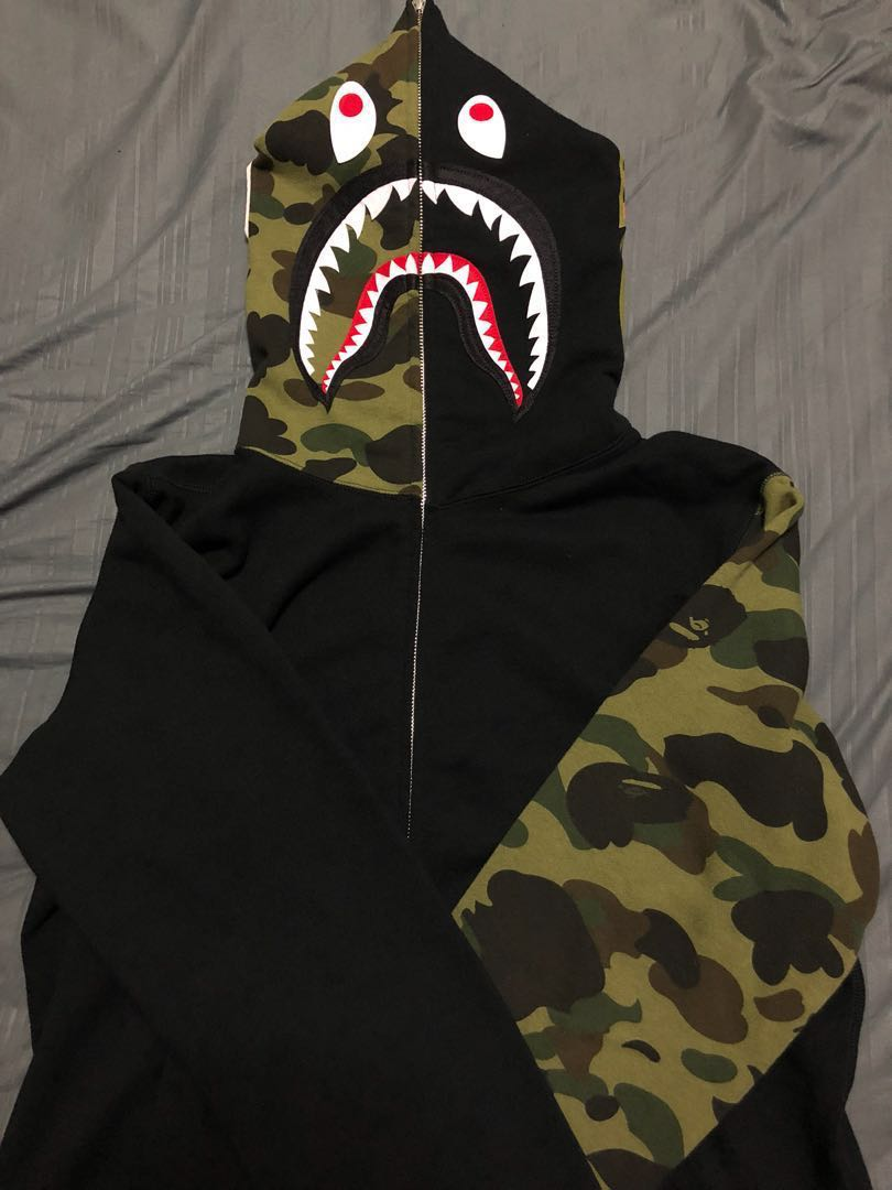 50a76f92cfd2 Bape 1st Camo Half Shark Full Zip Hoodie