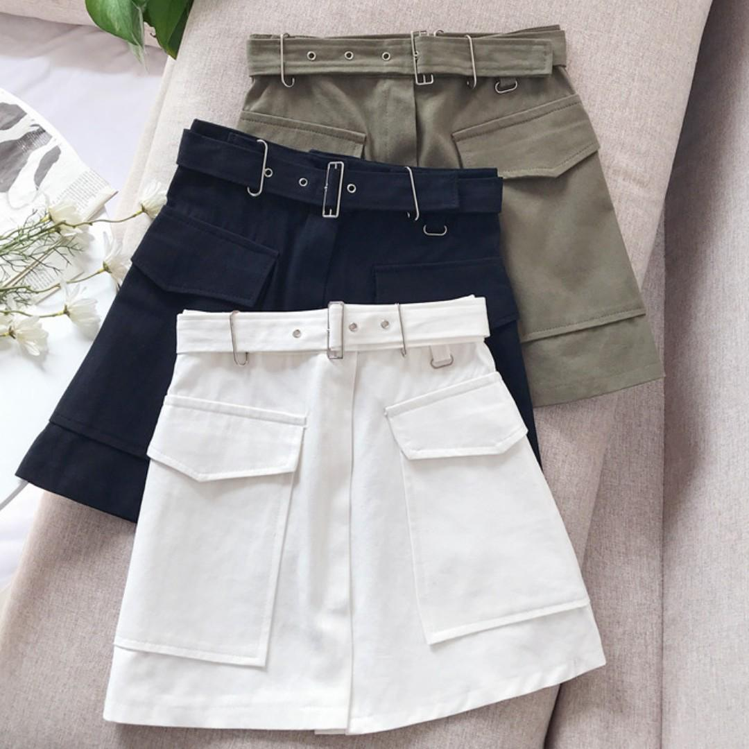 Belted A Line Skirt Ulzzang, Women's Fashion, Clothes