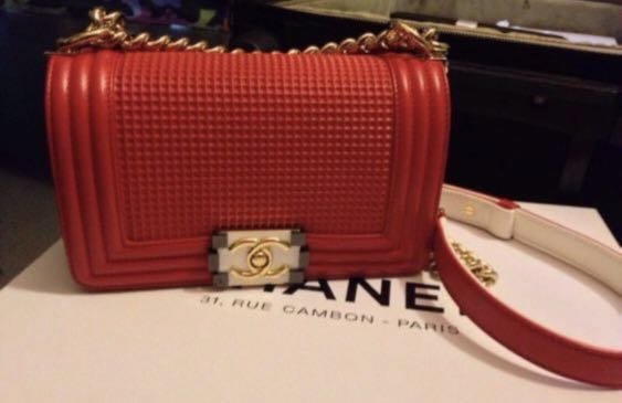b476b7d4566483 Chanel Boy Cube in Red, Luxury, Bags & Wallets, Handbags on Carousell