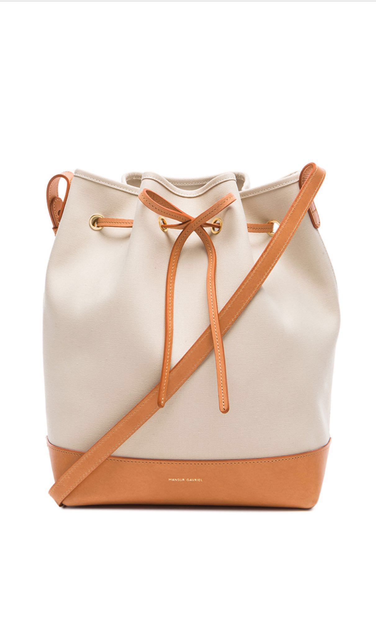6d8f4d266279 CLEARANCE Mansur Gavriel Large Leather + Canvas Bucket Bag