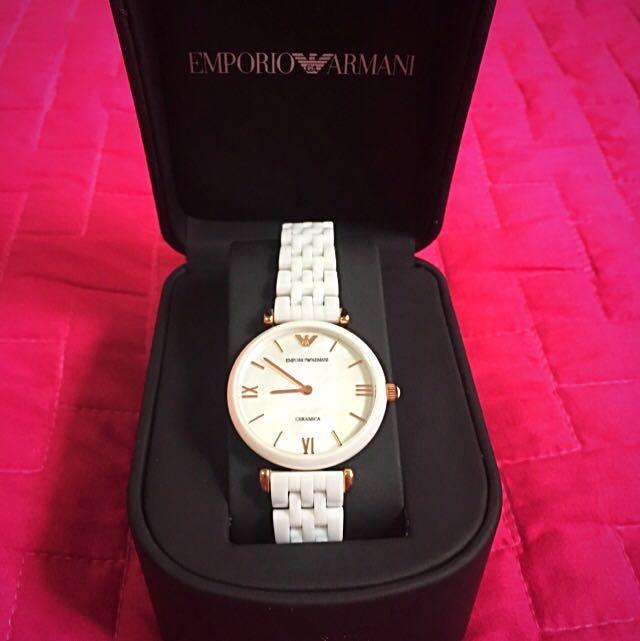 Emporio Armani Women Quartz Mother of Pearl Dial White Ceramic Watch ... 9c9c9e1f03
