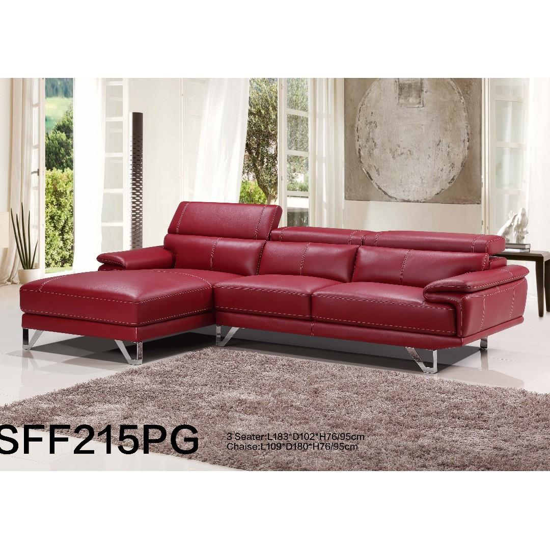 Full Cu Leather Sofa W Pocket Spring Wooden Frame Furniture Sofas