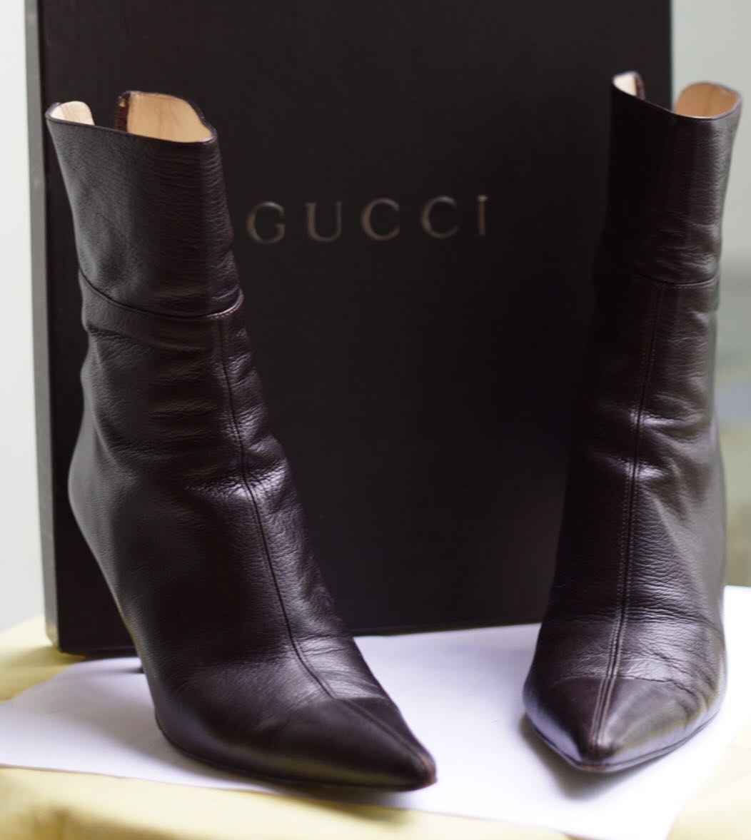 08eb9fdf39d Genuine Gucci Leather Boots Size EU 37 Dark Brown - Boxed and Good ...