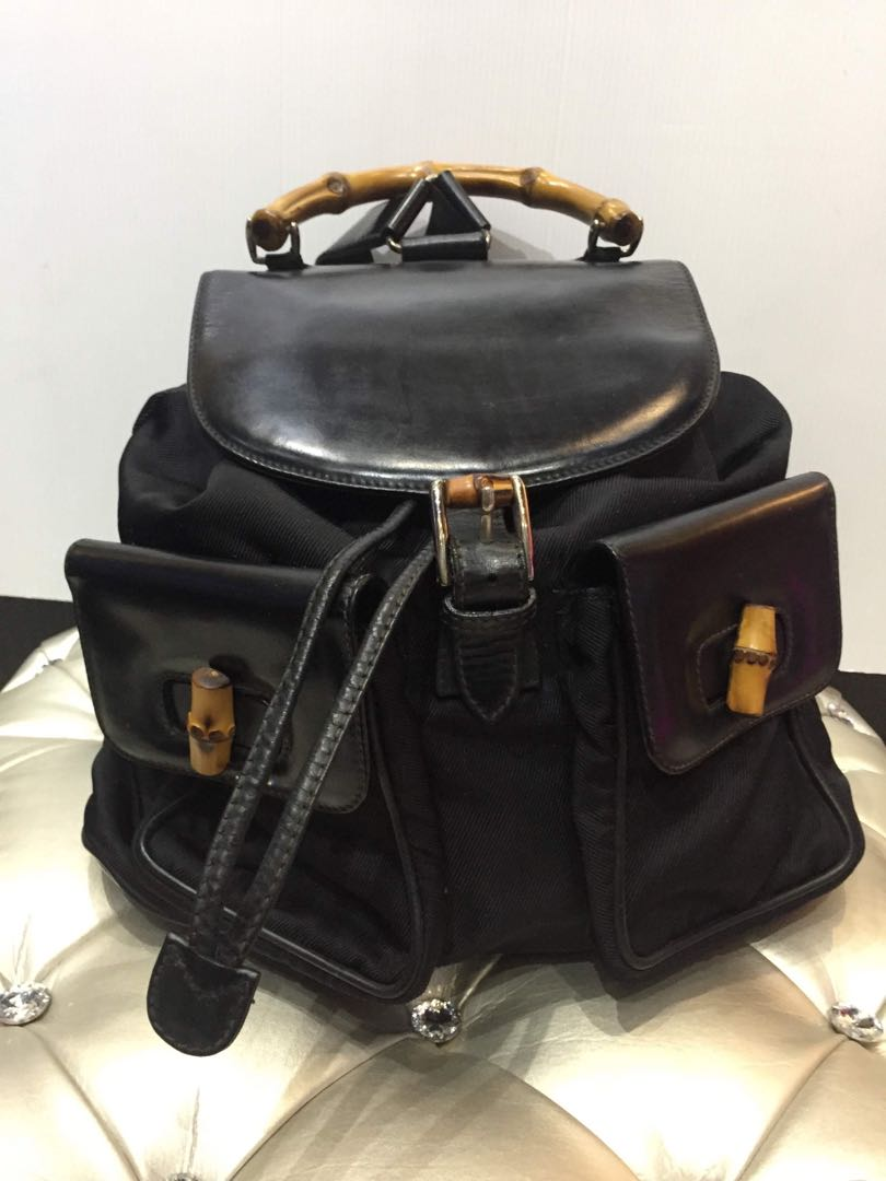 17632a17f GUCCI BAMBOO BACKPACK LERTHES&NAILON, Luxury, Bags & Wallets, Backpacks on  Carousell