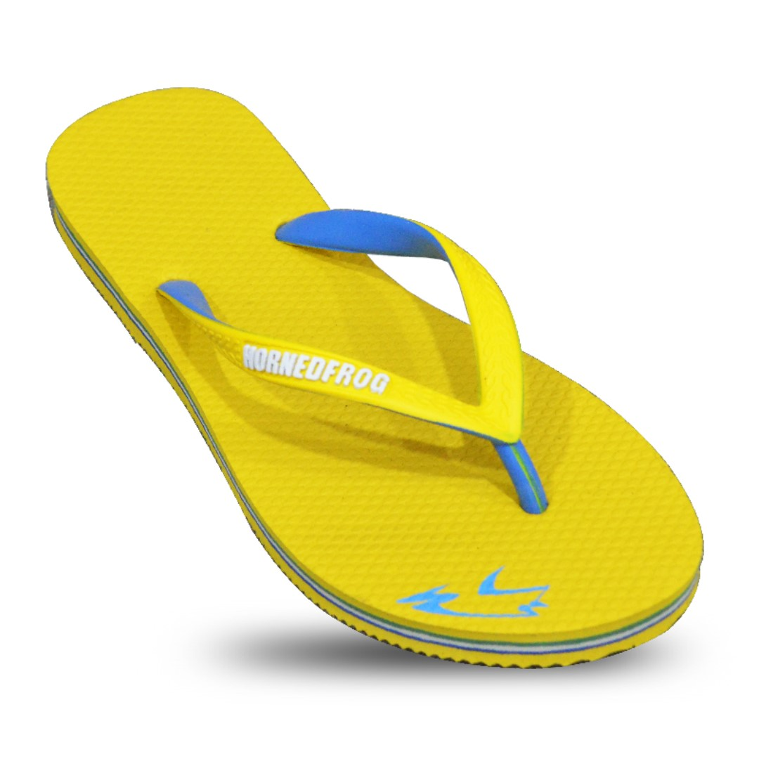 ec24385cbdf76 HornedFrog Classic Flip Flops for Women - Yellow sky blue