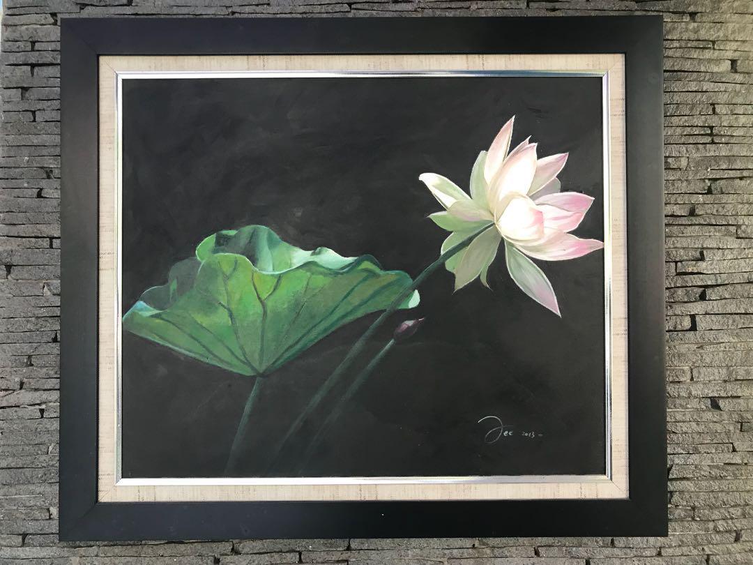 Lukisan Kanvas Bunga Teratai