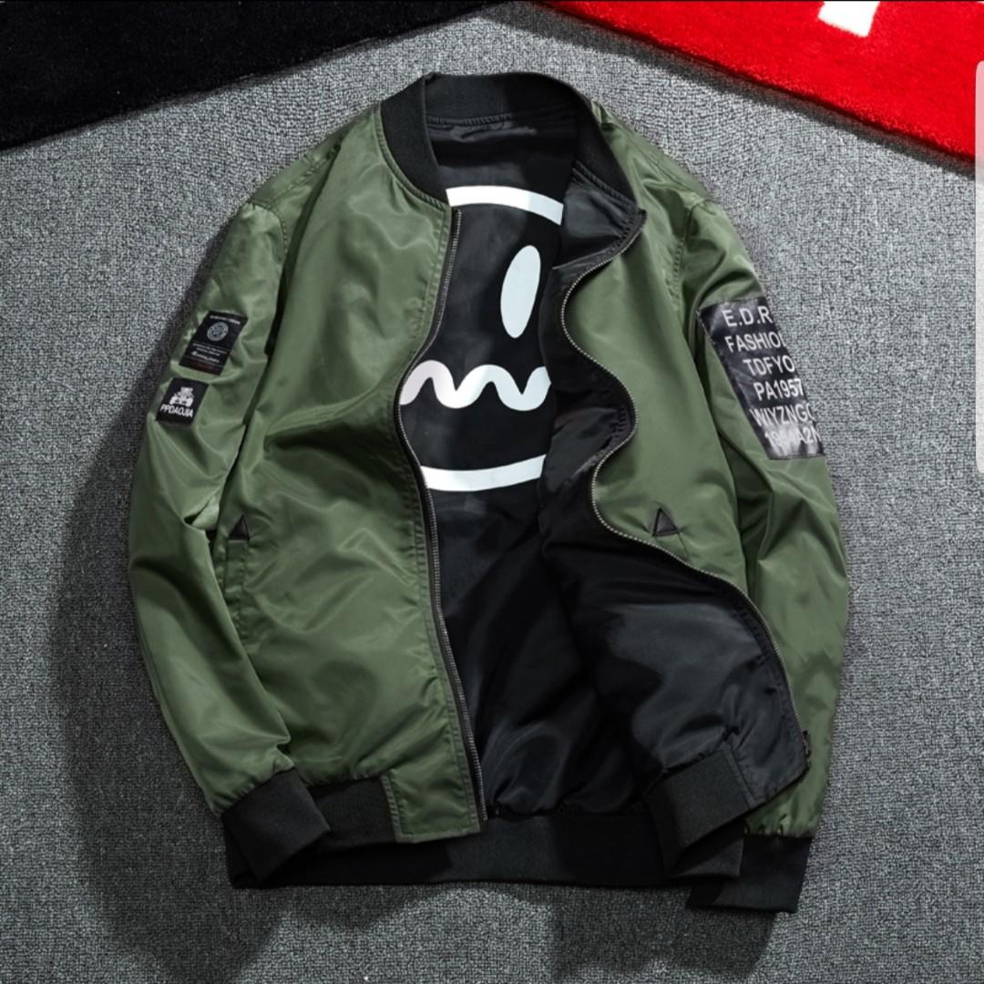 Mens Korean Style Reversible Bomber Jacket Men S Fashion Clothes