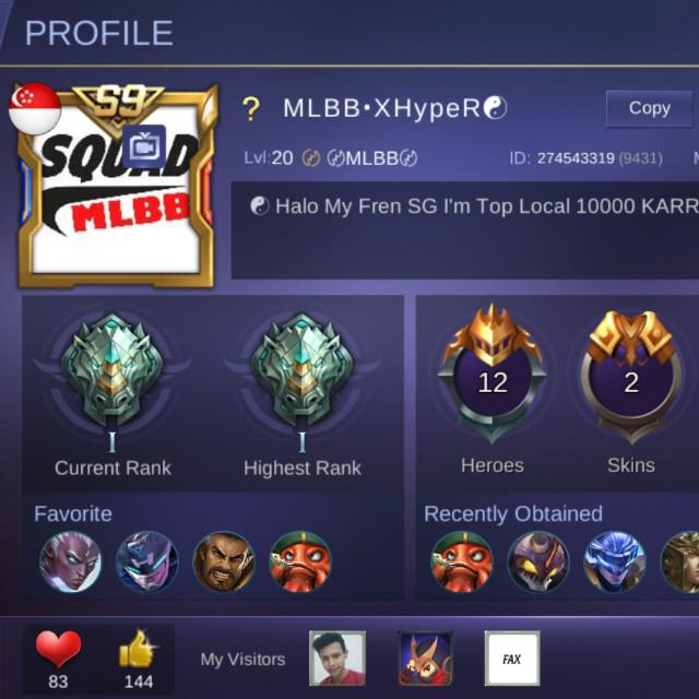 Mobile Legends Account, Toys & Games, Video Gaming, Video