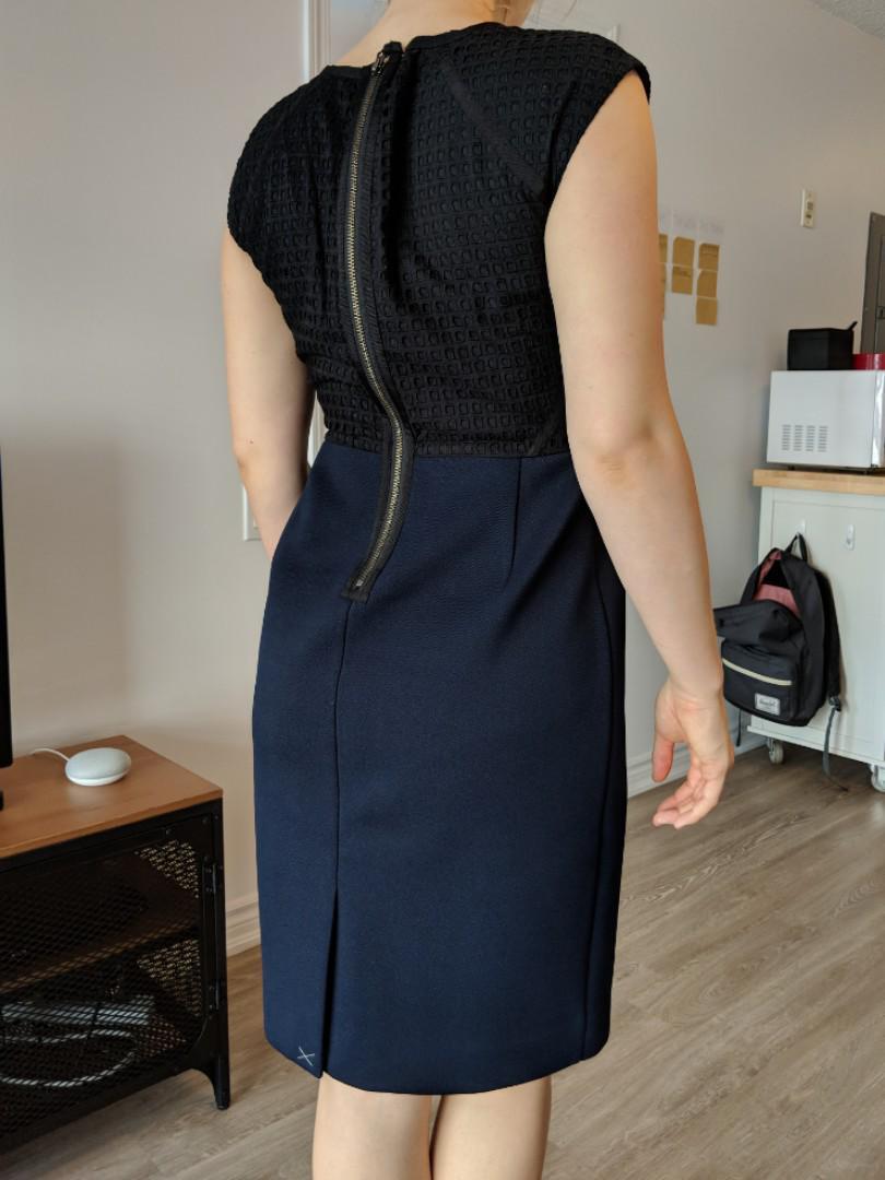 Navy and black dress (J. Crew)
