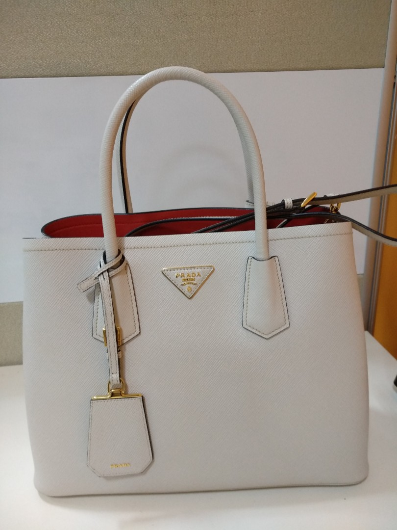 f42e8ab6b9435b ... promo code prada saffiano cuir double tote chalk white rare womens  fashion bags wallets handbags on