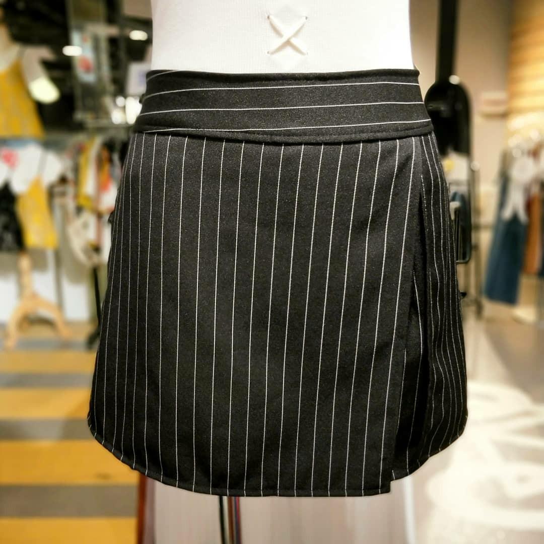 8b1fc06198298 Side Slit Elastic Back Waistband Stripe Skort with One Side Pocket ...