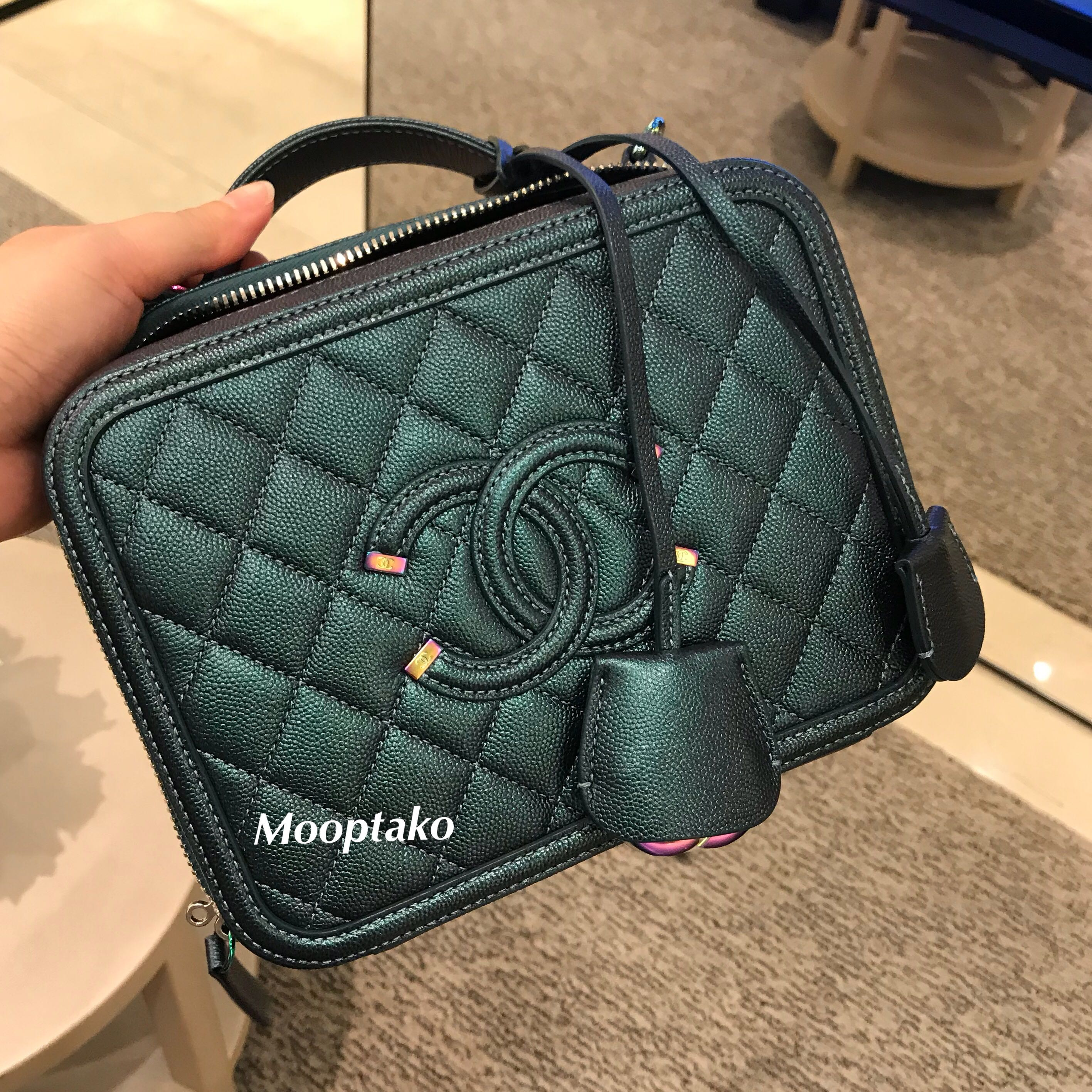 8c065ed85eff Authentic CHANEL Vanity Case Iridescent turquoise, Luxury, Bags & Wallets,  Handbags on Carousell