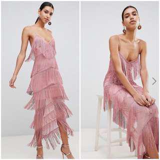 Pink fringe formal dress