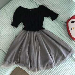 🚚 甜美公主風  氣質灰蕾絲紗裙  露肩洋裝