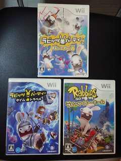 ((中古)) 日版 - Wii Rabbids 賤兔 共三隻 (WiiU 可玩 Nintendo 任天堂 UBISOFT 瘋狂兔子 雷曼兔 Rayman Raving Rabbids)