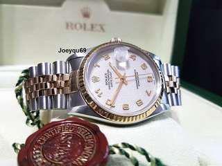 Men size 36mm ROLEX DATEJUST 18K halfgold 16233 Ivory Computer Numeric dial!