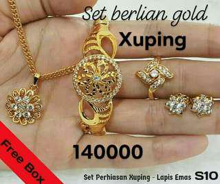 Set Berlian Gold Perhiasan Imitasi Xuping Lapis Emas