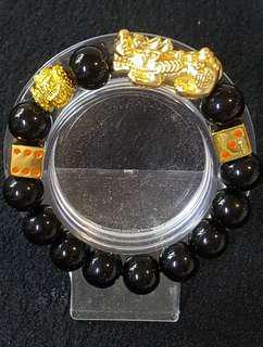 24K Velvet Gold Dice 3D Pixiu Bracelet
