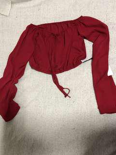 Red Long Sleeve Elastic Off The Shoulder Top