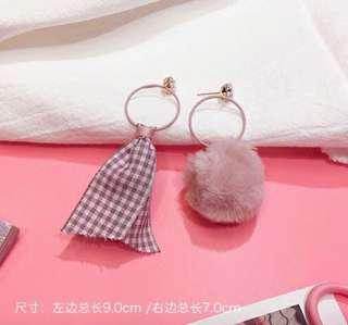 Mismatched Pastel Pompom Ball and Cloth Earring