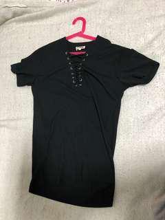 Black Lace Up Top