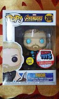 Funko pop marvel avengers infinity war thor glow in the dark simply toys exclusive