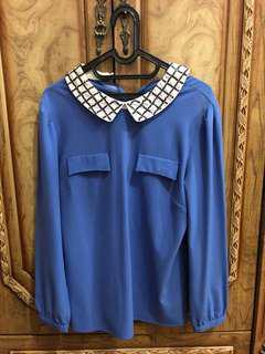 Cache cache blue shirt