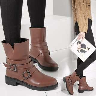 (35~40) Booties women's thick boots with low boots Martin boots women's shoes casual tube fashion boots temperament women's boots 2018 autumn and winter
