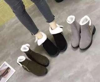(35~40) 2018 new thick with short boots British wind Martin boots plus velvet flat low-heeled students matte suede women's shoes tide