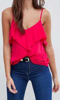 BNWOT Bright Pink Ruffle Cami Tank with Stunning Back Cut Out Detail