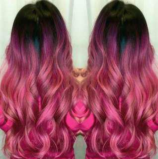 Ombre pink wig 26inch
