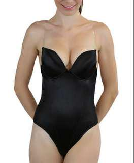 Black Backless Thong Shaper Bodysuit sz 38B