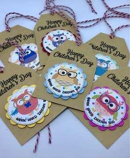 🚚 Happy Children's Day Hang Tags - Owls
