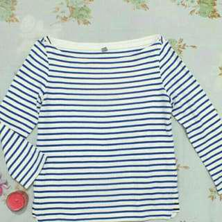 Uniqlo Striped Boat Neck 3/4 Sleeve Tee