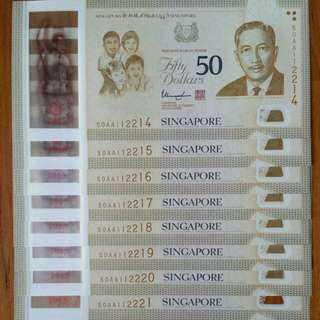 NOT TO BE MISSED!!! SG50 COMMEMORATIVE $50 NOTE PREFIX AA 8 RUNS!!!