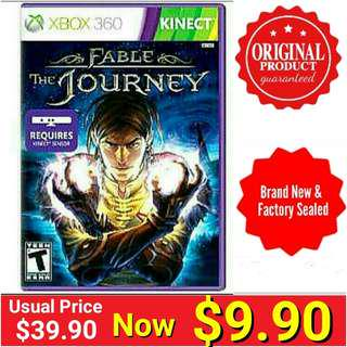 Xbox360 KINECT FABLE THE JOURNEY.  Usual Price: $39.90  Clerance price : $ 9.90 +  Free Mail Postage (Brand New in box &  Factory Sealed) or Whatsapp 85992490 To Pick Up from Any Mrt Stn In Town. Last few pieces left.