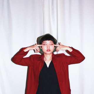 六怡ChienLiPai✼深紅色單排扣風衣✼ 尖領 腰帶 領袢 合身中長款 外套 早期文藝復古コート 日本古着
