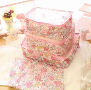 6 pc My Melody Luggage Travel Organizer Bag Tolietries Pouch Organiser Pink