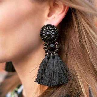 BNIB Black Tassel Earrings